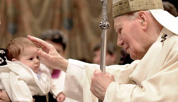 Pope John Paul II with baby